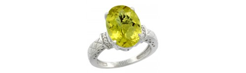 10k White Gold Lemon Quartz Rings