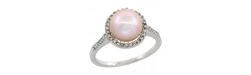 10k White Gold Pearl Rings