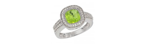 10k White Gold Peridot Rings