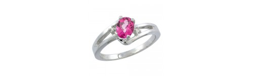 10k White Gold Pink Topaz Rings