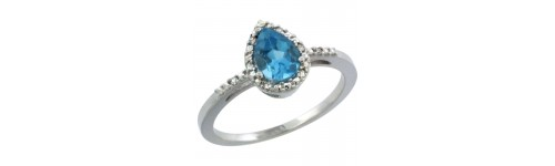 10k White Gold Swiss Blue Topaz Rings