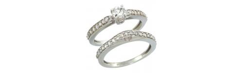 10k White Gold Women's 2-Piece Rings