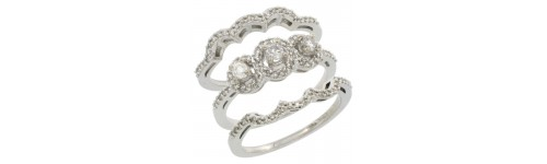 10k White Gold Women's 3-Piece Rings