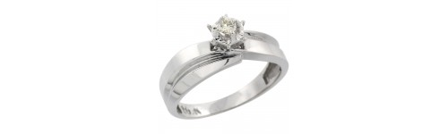 10k White Gold Women's Solitaire Rings