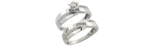 10k White Gold 2-Piece Ladies' Rings