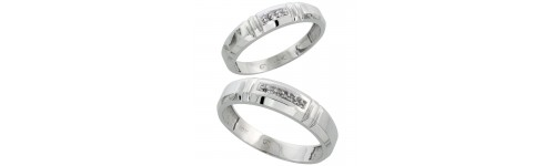 10k White Gold His & Hers Bands