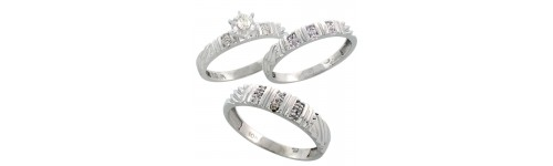 10k White Gold Trio Rings
