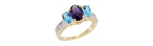 10k Yellow Gold 3-Stone Amethyst Rings