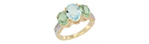 10k Yellow Gold 3-Stone Aquamarine Rings