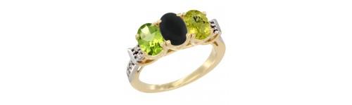 10k Yellow Gold 3-Stone Black Onyx Rings