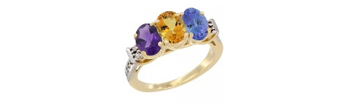 10k Yellow Gold 3-Stone Citrine Rings