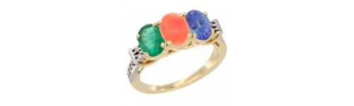 10k Yellow Gold 3-Stone Coral Rings