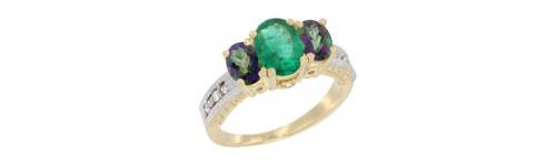 10k Yellow Gold 3-Stone Emerald Rings