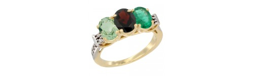 10k Yellow Gold 3-Stone Garnet Rings