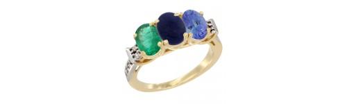 10k Yellow Gold 3-Stone Lapis Rings