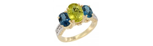 10k Yellow Gold 3-Stone Lemon Quartz Rings