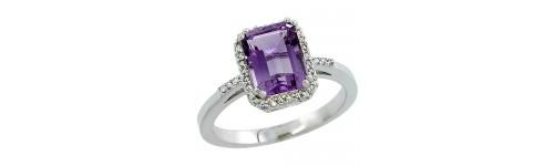 10k White Gold Color Gemstone Rings