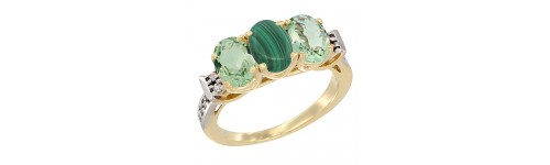 10k Yellow Gold 3-Stone Malachite Rings