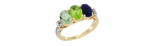 10k Yellow Gold 3-Stone Peridot Rings
