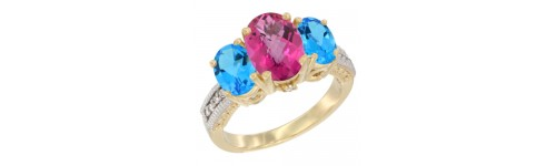 10k Yellow Gold 3-Stone Pink Topaz Rings