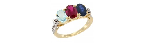 10k Yellow Gold 3-Stone Ruby Rings