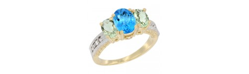 10k Yellow Gold 3-Stone Swiss Blue Topaz Rings