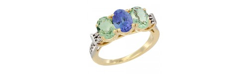 10k Yellow Gold 3-Stone Tanzanite Rings