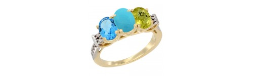 10k Yellow Gold 3-Stone Turquoise Rings