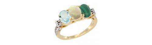 10k Yellow Gold 3-Stone White Opal Rings
