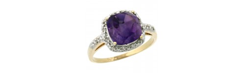 10k Yellow Gold Amethyst Rings