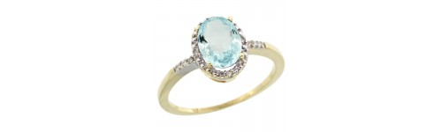 10k Yellow Gold Aquamarine Rings