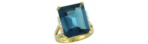 10k Yellow Gold London Blue Topaz Rings