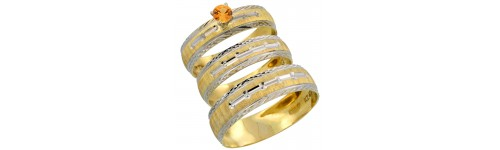 10k Yellow Gold Orange Sapphire Rings