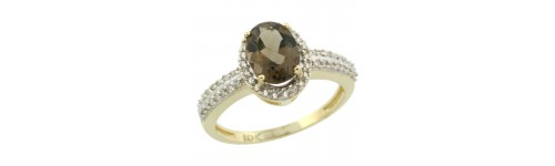 10k Yellow Gold Smoky Topaz Rings