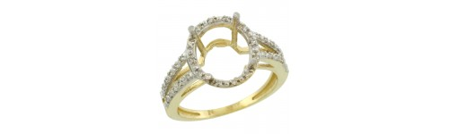 10k Yellow Gold Semi-Mount Rings For Her