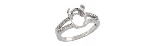 10k White Gold Semi-Mount Rings