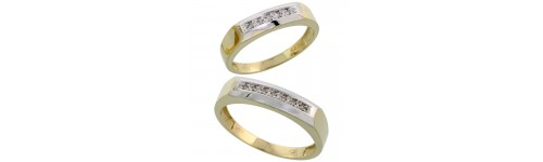 10k Yellow Gold His & Hers Bands