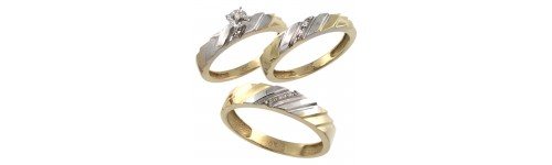 10k Yellow Gold Trio Rings