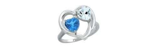 14k White Gold 2-Stone Ladies' Rings