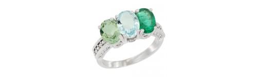14k White Gold 3-Stone Aquamarine Rings