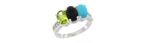 14k White Gold 3-Stone Black Onyx Rings