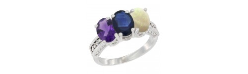 14k White Gold 3-Stone Blue Sapphire Rings