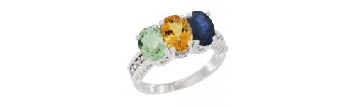 14k White Gold 3-Stone Citrine Rings