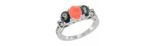 14k White Gold 3-Stone Coral Rings