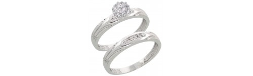 10k White Gold Wedding & Engagement Sets