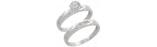 10k White Gold Wedding & Engagement Sets