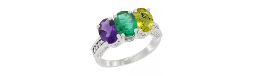 14k White Gold 3-Stone Emerald Rings