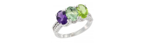 14k White Gold 3-Stone Green Amethyst Rings