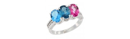 14k White Gold 3-Stone London Blue Topaz Rings
