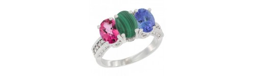 14k White Gold 3-Stone Malachite Rings